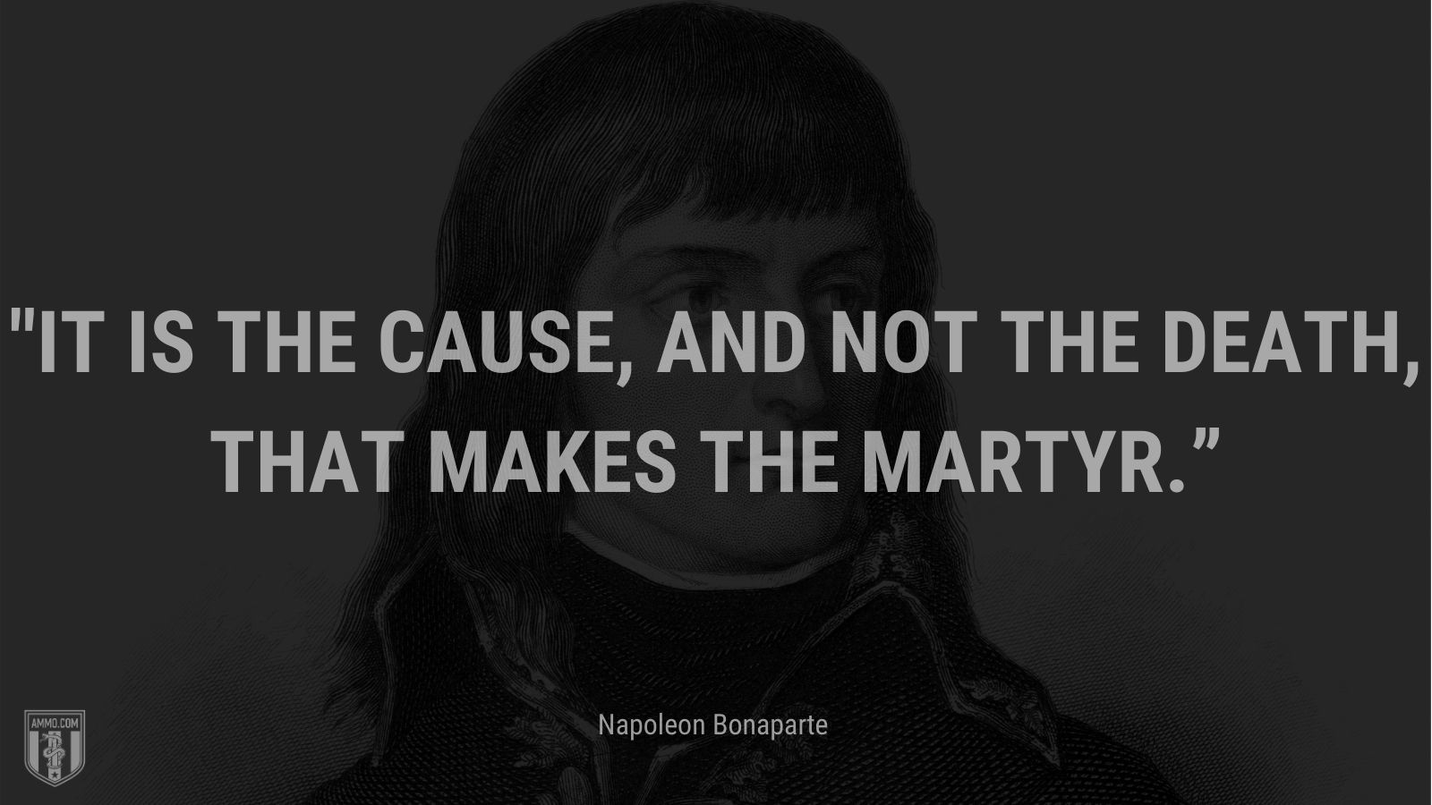 """""""It is the cause, and not the death, that makes the martyr."""" - Napoleon Bonaparte"""