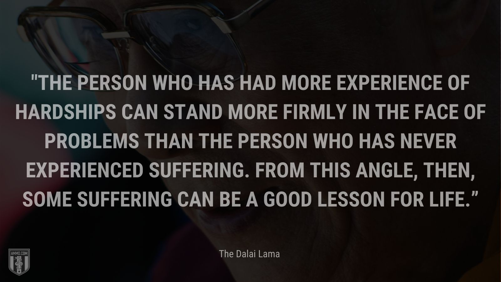 """""""The person who has had more experience of hardships can stand more firmly in the face of problems than the person who has never experienced suffering. From this angle, then, some suffering can be a good lesson for life."""" - The Dalai Lama"""