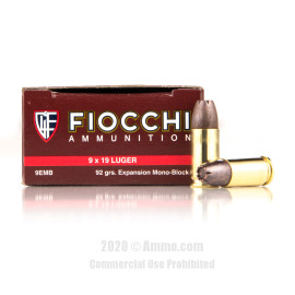 Image For 500 Rounds Of 92 Grain EMB Boxer Brass 9mm Fiocchi Ammunition