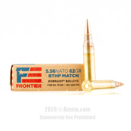 Image For 500 Rounds Of 62 Grain HPBT Boxer Brass 5.56x45 Hornady Ammunition