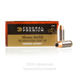 Image For 500 Rounds Of 180 Grain JHP Boxer Nickel-Plated Brass 10mm Federal Ammunition