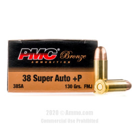 Image For 1000 Rounds Of 130 Grain FMJ Boxer Brass 38 Super PMC Ammunition
