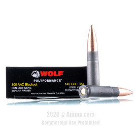 Image For 20 Rounds Of 145 Grain FMJ Berdan Steel 300 Blackout Wolf Ammunition