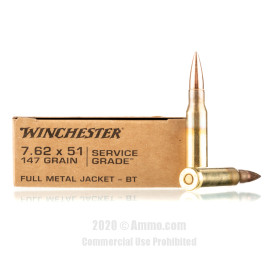 Image For 20 Rounds Of 147 Grain FMJ-BT Boxer Brass 308 Win Winchester Ammunition