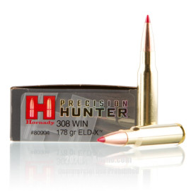 Image For 20 Rounds Of 178 Grain ELD Boxer Brass 308 Win Hornady Ammunition