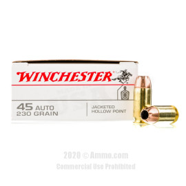 Image For 50 Rounds Of 230 Grain JHP Boxer Brass 45 Auto Winchester Ammunition