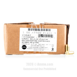 Image For 650 Rounds Of 180 Grain FMJ Boxer Brass 40 Cal Remington Ammunition