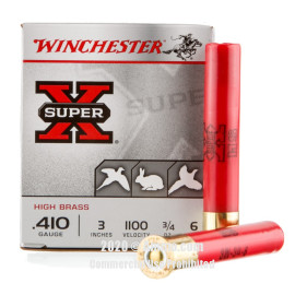 Image For 250 Rounds Of 3/4 oz. #6 Shot Boxer 410 Winchester Ammunition