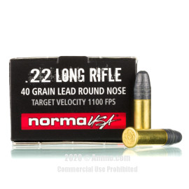 Image For 50 Rounds Of 40 Grain LRN Rimfire Brass 22 LR Norma Ammunition