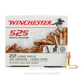 Image For 525 Rounds Of 36 Grain CPHP Rimfire Brass 22 LR Winchester Ammunition