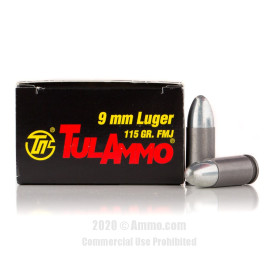 Image For 1000 Rounds Of 115 Grain FMJ Berdan Steel 9mm TulAmmo Ammunition