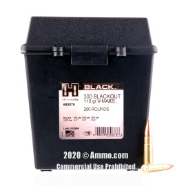 Image For 200 Rounds Of 110 Grain V-MAX Boxer Brass 300 Blackout Hornady Ammunition