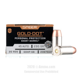 Image For 20 Rounds Of 230 Grain JHP Boxer Nickel-Plated Brass 45 Auto Speer Ammunition