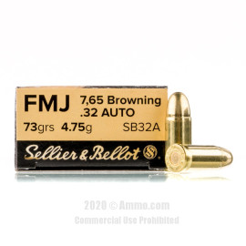 Image For 50 Rounds Of 73 Grain FMJ Boxer Brass 32 ACP Sellier and Bellot Ammunition