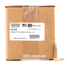 Image For 1000 Rounds Of 55 Grain FMJ Boxer Brass 223 Rem Hornady Ammunition