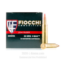 Image For 50 Rounds Of 32 Grain V-MAX Boxer Brass 204 Ruger Fiocchi Ammunition
