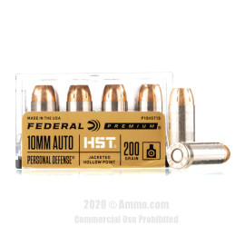 Image For 20 Rounds Of 200 Grain JHP Boxer Nickel-Plated Brass 10mm Federal Ammunition