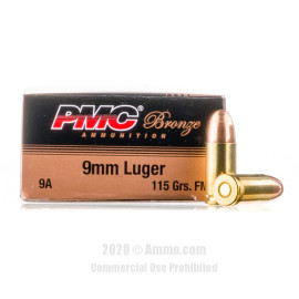 Image For 50 Rounds Of 115 Grain FMJ Boxer Brass 9mm PMC Ammunition