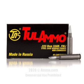 Image For 40 Rounds Of 55 Grain FMJ Berdan Steel 223 Rem TulAmmo Ammunition