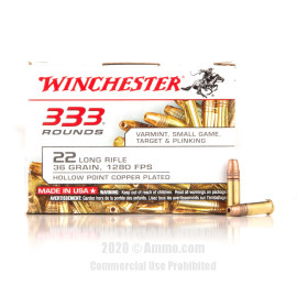 Image For 3330 Rounds Of 36 Grain CPHP Rimfire Brass 22 LR Winchester Ammunition