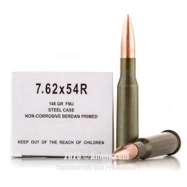Image For 500 Rounds Of 148 Grain FMJ Berdan Steel 7.62x54r Wolf Ammunition