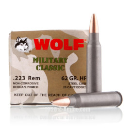 Image For 20 Rounds Of 62 Grain HP Berdan Steel 223 Rem Wolf Ammunition