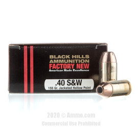 Image For 20 Rounds Of 155 Grain JHP Boxer Brass 40 Cal Black Hills Ammunition Ammunition