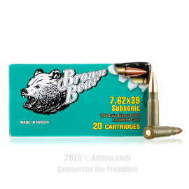 Image For 20 Rounds Of 196 Grain FMJ Berdan Steel 7.62x39 Brown Bear Ammunition
