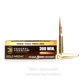 Image For 200 Rounds Of 168 Grain HPBT Boxer Brass 308 Win Federal Ammunition