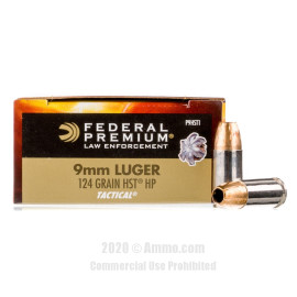 Image For 50 Rounds Of 124 Grain JHP Boxer Nickel-Plated Brass 9mm Federal Ammunition