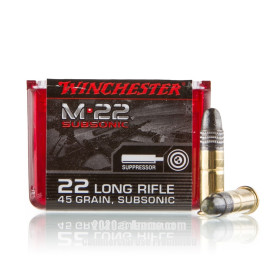 Image For 100 Rounds Of 45 Grain Round Nose Rimfire Brass 22 LR Winchester Ammunition