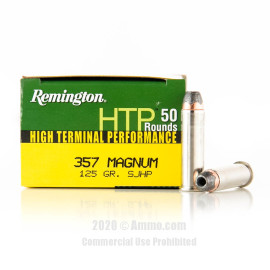 Image For 500 Rounds Of 125 Grain SJHP Boxer Nickel-Plated Brass 357 Magnum Remington Ammunition