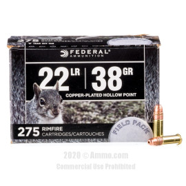 Image For 2750 Rounds Of 38 Grain CPHP Rimfire Brass 22 LR Federal Ammunition