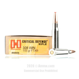Image For 200 Rounds Of 155 Grain FTX Boxer Nickel-Plated Brass 308 Win Hornady Ammunition