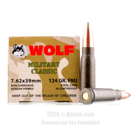 Image For 1000 Rounds Of 124 Grain FMJ Berdan Steel 7.62x39 Wolf Ammunition