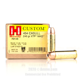 Image For 20 Rounds Of 240 Grain XTP Mag Boxer Brass 454 Casull Hornady Ammunition