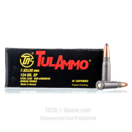 Image For 1000 Rounds Of 124 Grain SP Berdan Steel 7.62x39 TulAmmo Ammunition