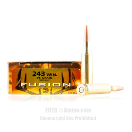 Image For 20 Rounds Of 95 Grain Fusion Boxer Brass 243 Win Federal Ammunition
