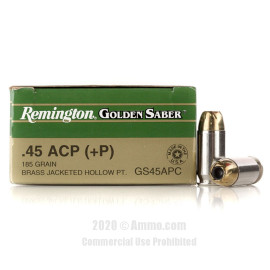 Image For 25 Rounds Of 185 Grain JHP Boxer Nickel-Plated Brass 45 Auto Remington Ammunition