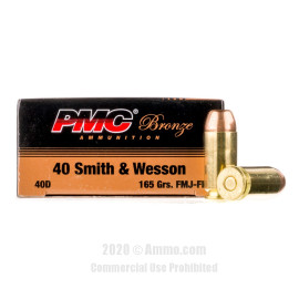 Image For 1000 Rounds Of 165 Grain FMJ Boxer Brass 40 Cal PMC Ammunition