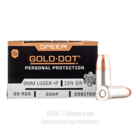 Image For 200 Rounds Of 124 Grain JHP Boxer Nickel-Plated Brass 9mm Speer Ammunition