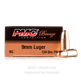 Image For 50 Rounds Of 124 Grain FMJ Boxer Brass 9mm PMC Ammunition