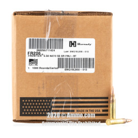 Image For 1000 Rounds Of 55 Grain FMJ Boxer Brass 5.56x45 Hornady Ammunition