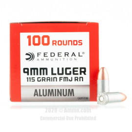 Image For 100 Rounds Of 115 Grain FMJ Boxer Aluminum 9mm Federal Ammunition