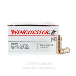 Image For 50 Rounds Of 50 Grain FMJ Boxer Brass 25 ACP Winchester Ammunition