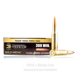 Image For 20 Rounds Of 175 Grain HPBT Boxer Brass 308 Win Federal Ammunition