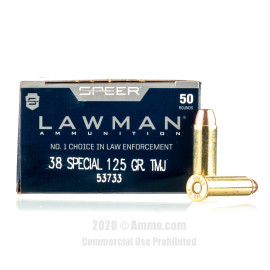 Image For 50 Rounds Of 125 Grain TMJ Boxer Brass 38 Special Speer Ammunition