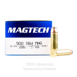 Image For 20 Rounds Of 400 Grain SJSP Boxer Brass 500 S&W Magnum Magtech Ammunition