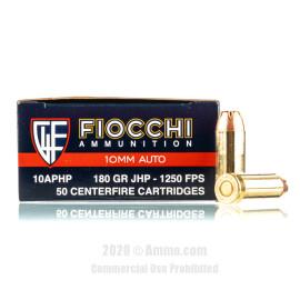 Image For 500 Rounds Of 180 Grain JHP Boxer Brass 10mm Fiocchi Ammunition