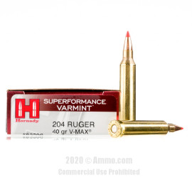 Image For 20 Rounds Of 40 Grain V-MAX Boxer Brass 204 Ruger Hornady Ammunition